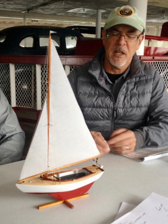 Paul McKenzie and his Sakonnet Daysailer model at the November meeting.