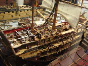 Detailed model of a 74 gun two-decker British Ship of the Line, circa 1800. By artist Joe Frangiosa, Jr.